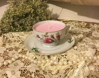 Tea cup candle pink, tea cup candle with pink flowers vintage