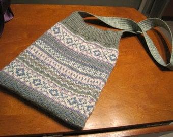 Repurposed Fair Isle Sweater Bag