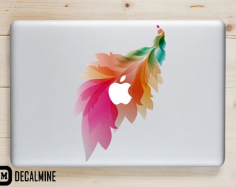 FEATHER Designer MacBook Decal Removable Vinyl Sticker Feather Colorful Rainbow Feather