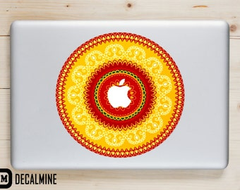 Red and Yellow Mandala MacBook Decal Designer Vinyl Sticker Removable Vinyl Decal MacBook Pro Sticker MacBook Air Decal MacBook Decals