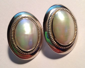 Vintage 925 Sterling Silver Opaque Earrings