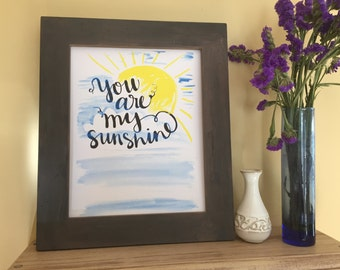 Nursery Art, Baby Shower Gift, Baby Gift, Baby Boy, Baby Girl, Kid Room Decor, You are my Sunshine, Handmade Watercolor Art Print