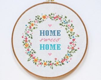 Home Sweet Home Cross Stitch Pattern, Home Modern Cross Stitch Pattern, Easy Counted Chart, PDF Format, Instant Download