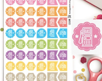 Gas Petrol Assorted Shapes Planner Stickers | Functional | Reminders | Chores | Hexagons | Flags | Teardrops