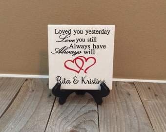 Personalized Gift, Wedding Gift, Loved You Yesterday, Established Sign, Wedding, Name Sign, Engagement Gift,  Couples  Gift, Gift for Couple