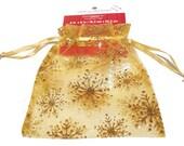 Organza Bag - Sheer Gold Glitter Snowflake Organza Gift Bag Destash