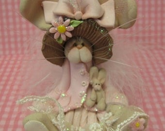 FREE SHIPPING! Polymer Clay Art Easter Bunny Rabbit with Baby in Pink Dress Sculpture