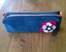 Hand Made upcycled denim pencil case, make up bag, cosmetics bag with zip closure. Ideal present for teenager or back to school.