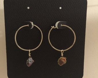 Red freshwater pearl and sterling silver hoop earrings