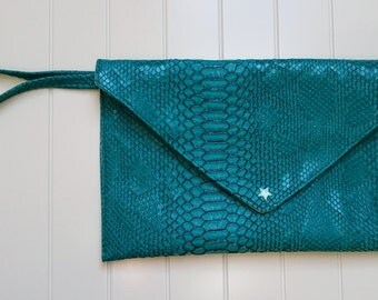 Evening bag, purse with strap leather dragon glossy emerald green