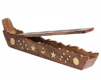 Incense Burner Boat Style Stars w/ Storage - Hand Made Home Decor Gift Idea