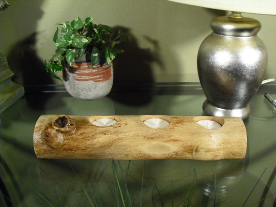 Centerpiece log candle holder tea table