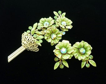 SIGNED Coro Demi Parure Green Brooch Earrings Set, Rhinestone Brooch, Antique Jewelry Set, 50s, Coro Jewelry, Antique Brooches, Mid Century