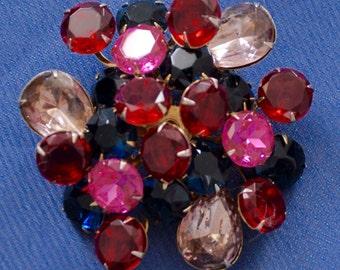 "2 1/2""x 2 1/2"" Beautiful Brooch ""Aurora Borealis"" crystals by Swarovski"