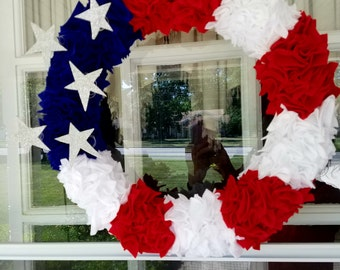 Patriotic Door Wreath, 4th of July Wreath, Memorial Day/Labor Day Wreath, Red White & Blue Wreath