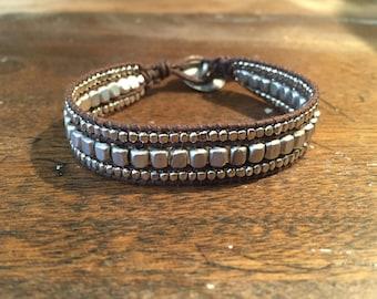 Silver stacked bracelet