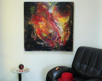 Anstract #Modern #acrylic #abstract painting, Birth of Phoenix # fire #emotion