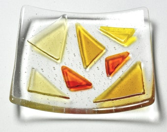 Orange triangles glass dish