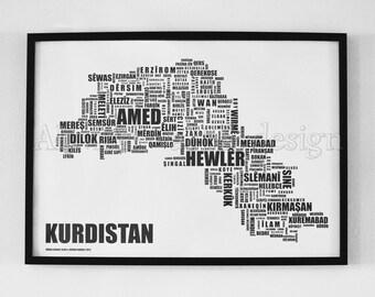 Kurdistan Letter Map