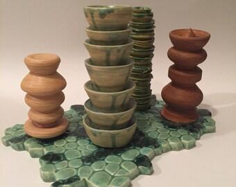 Thrown column stoneware sculpture