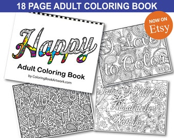 Happy Adult Coloring Book with Whimsical Words and Sayings Version Adult Coloring Book