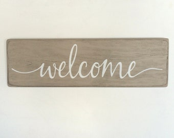 """Wood welcome sign, rustic wood sign, rustic wall decor, 24""""x 7.25"""""""