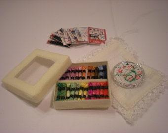 1:12 - Dollhouse Miniature - Embroidery Set - Handmade -