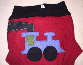 Upcycled Wool Diaper Cover TRAIN double layer, soaker liner, bullet proof, night time, cloth diapering, baby gift