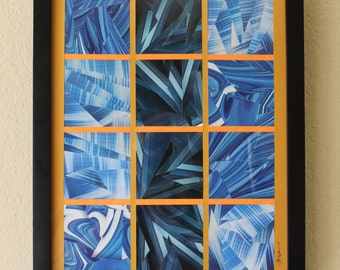 Blue, White, Abstract, Geometric, Modern, Mid Century Art, Paper Collage - Framed
