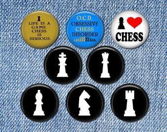 8 Chess Pin Buttons 1.25 Inch Diameter