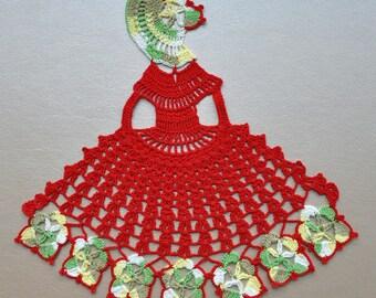 Crochet Crinoline Lady Doily. Home decor. Crochet doily. Handmade doily. Crochet lace doily. Red crochet doily