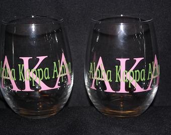 Alpha Kappa Alpha Stemless Wine Glass (set of 2)