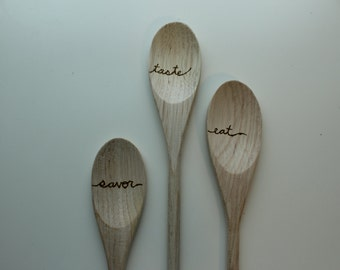 Woodburned Mixing Spoons