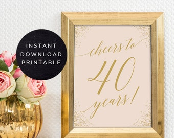 Cheers to 40 years sign | INSTANT DOWNLOAD | Printable 40th birthday decor | Cheers to 40 years birthday sign | 40th birthday centerpiece