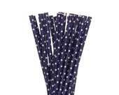 Paper Straws, Dark Blue Polka Dot Paper Straws, Polkadot Baby Shower Paper Straw, 1st Birthday Party Paper Paper Straws, Gender Reveal Decor