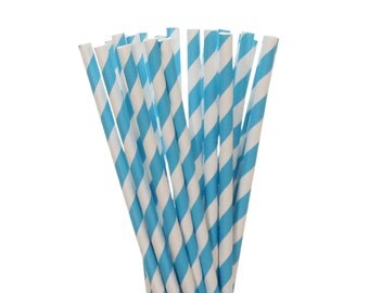 Paper Straws, Bright Blue Striped Paper Straws, 1st Birthday Party, Baby Shower Straws, Gender Reveal Decor, Under the Sea Party Supplies