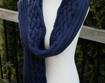 Long cabled scarf - Lapis blue