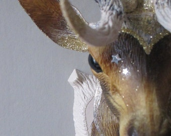 retro deer head trophy vintage pink nude sequined