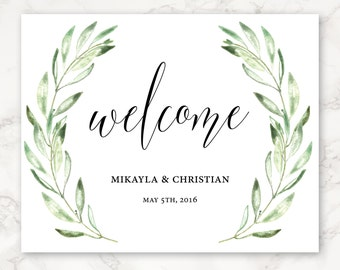 Printable Wedding Sign - Welcome - Floral - Olive Branches - Watercolor - Greenery - Nature