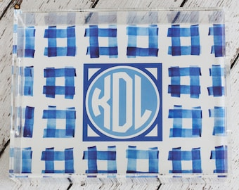 Preppy Blues Gingham Monogrammed Lucite Tray