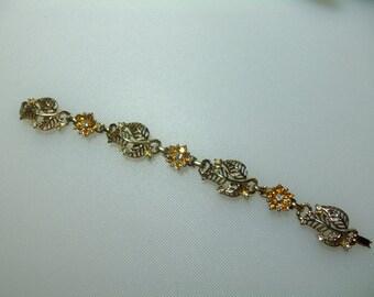 Vintage Gold Tone Amber and Clear Rhinestone Flower Bracelet