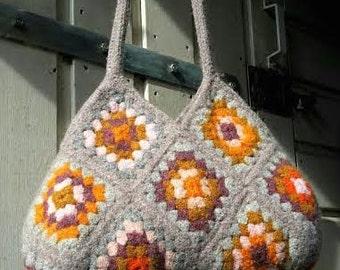 Felted Grey- Ochre-Orange Handbag
