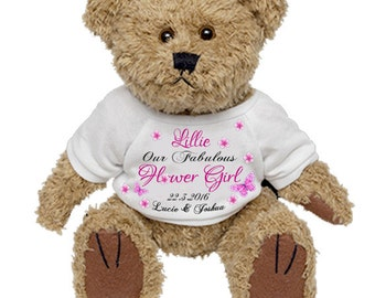 Personalised Teddy Bear Wedding Favour Thank you Flower Girl Bridesmaid Maid of Honour Gift Present