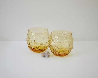 Vintage Milano Roly Poly Amber Glasses | Low Ball Rocks Glasses