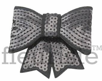 BLACK 3 inch Sequin Bows, Mini Sequin Bows, Mini Bows, Sparkly Bows, Fabric Bows, DIY Bows, Soft Bows, Wholesale Bows, Diy Headband