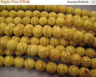 ON SALE Neon Yellow Magnesite Beads Round 10mm 42pcs
