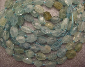 Chinese Aquamarine Faceted Freeform Nuggets Beads 37pcs