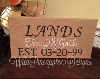 Burlap sign with names and wedding date