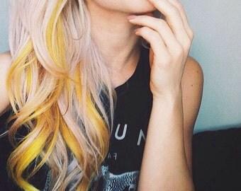 Yellow Hair Chalk - Salon Grade - Temporary - Non-Toxic