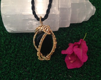 Gold Plated Onyx Pendand